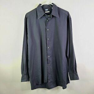 Halogen Charcoal Black Check Button Down Long Sleeve Shirt Size M