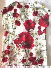 £797 New DOLCE & GABBANA Authentic NEW ! DAISIES & POPPIES SICILY Silk TOP 36 IT