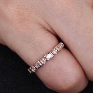 0.7 Ct Baguette Round Cut Diamond Milgrain Wedding Ring Band 14K Rose Gold Over