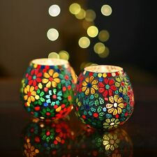Moroccan Glass Crackle Mosaic Candle Holder, Tea Light Holder Votive, Set of 2