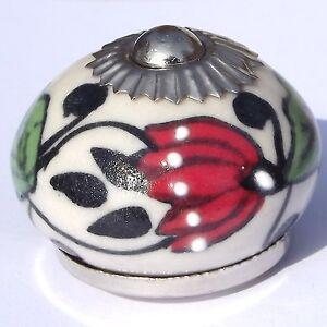 Ceramic Knob Handle Pull door drawer cupboard cabinet wardrobe porcelain chrome