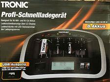 TRONIC Profi Schnell Ladegerät Ni-MH Ni-Cd-Akkus LC Display Batterie Ladeger USB