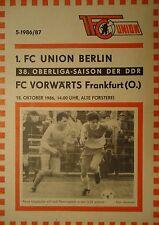 Programm 1986/87 Union Berlin - Vorwärts Frankfurt
