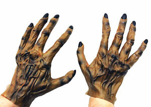ADULT WEREWOLF MONSTER HANDS LATEX GLOVES COSTUME DRESS ACCESSORY MR156017