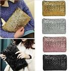 Pop Sparkling Womens Clutch Purse Bag Ladies Evening Handbag Wedding Silver