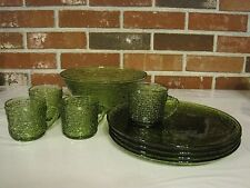 VINTAGE GREEN SERENO GLASS BOWL, 4 LUNCHEON PLATES AND 4 CUPS