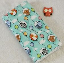 Handcrafted Teal Flannel Mom / Baby Balloon /White Minky Bubble Baby Burp Cloth