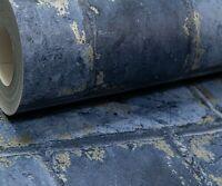 Dark Navy Midnight Blue Metallic Gold Brick Stone Feature Rustic Wallpaper 3D