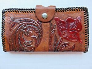 Tooled Leather Wallet Brown Red Floral BG Initials Western Vintage  Rockabilly