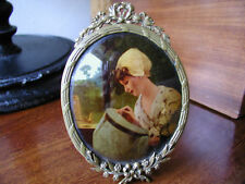 ANTIQUE MINIATURE PICTURE ON GLASS IN BRASS PICTURE FRAME.