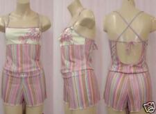 Shamah Lingerie Stripe/Floral Camisole Short Set Large