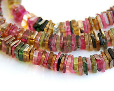 "4"" Natural Multi Color Tourmaline Square Heishi Beads 3mm."