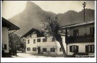 Oberammergau ~1930/40 Straßenpartie Blick auf den Kofel Echtfoto-AK Real Photo