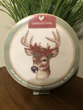 Dimensions Cross Stitch Christmas Ornament Deer 6� With Hoop Frame Poinsettia