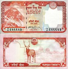 Nepal 20 Rupees Banknote World Paper Money Unc Currency Pick p62a Everest & Deer