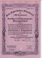 4,5 4 1/2 Hypotheken-Pfandbrief Deutsche Centralboden AG 500 Reichsmark 1937