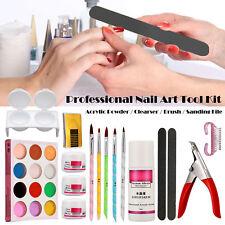 Professional Nail Art Kits Acrylic Powder Clearser Plus Brush Sanding File Tool