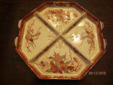 """New listing Vintage Antique Hand Painted Japanese Divided Dish Octagon Shaped 8 3/4"""" Wide"""
