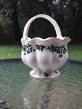 Madison And Max Christmas Holly Berry China Gold Trim Candy Dish Basket