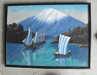 Vintage 1950s Oil on Silk Mt Fuji Painting with Ships Framed