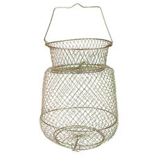 Collapsible Steel Wire Fishing Basket - Gold 25cm