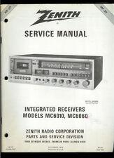 Factory Zenith MC 6010/6060 AM FM Stereo Cassette Receiver Service Manual