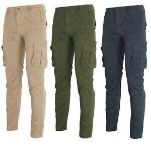 Pantaloni Cargo Uomo con Tasche Laterali Primaverili Pantalone Militare