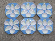 Set of 6 Octagon 6-Well Oyster Plate Pink Blue Yellow White w/Gold Trim Seafood