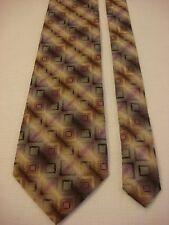 KENNETH COLE Men's Silk Neck Tie - Gray/Tan w/Purple geometric squares