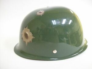 Child Green Army Helmet Hat W/ Bullet Holes Military Soldier Costume Accessory