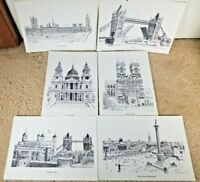 Set of 6 Bernard Smith B/W Drawings Prints of Famous London Landmarks  12.3x8.6