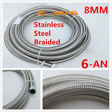 "AN6 -6AN 8MM 0.34"" Stainless Steel Braided OIL FUEL Line Intercooler Vacuum Hose"