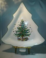 Nikko Happy Holidays CHRISTMAS TREE SHAPE PLATE Cookies Dessert Platter