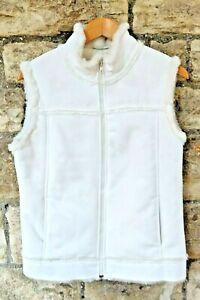 UK12 Per Una Faux Suede & Faux Fur Lined Cream Gilet Vest Waistcoat WASHABLE