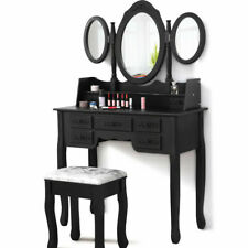 Luxury Dressing Table with Stool and 3 Mirror Jewellery Cabinet