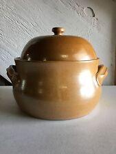 """Large Vintage Bean Chili Pot Ceramic 9"""" Mustard Yellow Stoneware"""