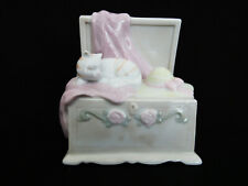 """San Francisco Music Box Porcelain Wind Up Musical """"As Time Goes By"""" Cat w/ Hat"""