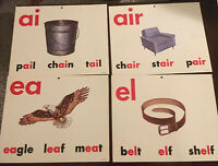 "Vintage Lot Of 24  Milton Bradley Classroom VOWEL POSTER BOARDS 11.25"" X 13.5"""