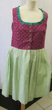 Damen Trachten Kleid Dirndl beere geblümt/ apfelgrün weiß kariert  Gr. 42