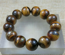 16MM Natural 5A Yellow Tiger Eye Round Stone Beads With Stretchy JADE Bracelet