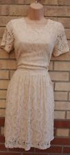PAPAYA CREAMY CREAM SHORT SLEEVE WINTER WEDDING SKATER LACE A LINE DRESS 12 M