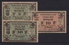 [21386] - 3 x NOTGELD GUHRAU (heute: Góra), Stadt, 5 - 50 Pf, 01.12.1920, Tieste