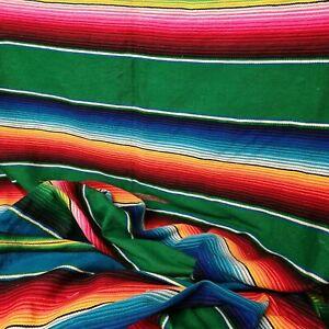 Mexican Green Rainbow Stripe Woven Stripy Falsa Yoga Blanket / Throw