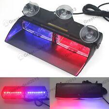 Car 16 LED Red/Blue Police Strobe Flash Light Dash Emergency Flashing Light