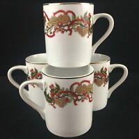 Set of 4 VTG Coffee Mugs Andrea by Sadek Christmas Garland Holly Pinecone Japan