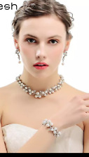 BRIDAL PEARLS NECKLACE/ EARRINGS AUSTRIAN  SILVER CRYSTAL RHINESTONE SET