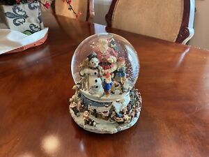 Santa Snow Globe With Elves Christmas Holiday Ornament With Gifts Very Large