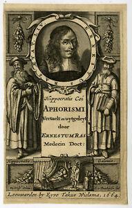 Rare Antique Master Print-ERNEST RAS-GALENUS-HIPPOCRATES-Wolf-Veenhuysen-1664