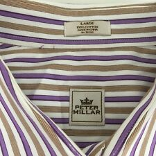 Peter Millar Mens Dress Shirt Size Large Cotton Purple and Gold Striped