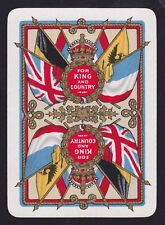1 Single ANTIQUE Playing/Swap Card OLD WIDE KING + COUNTRY FLAGS CROWN Gold Det